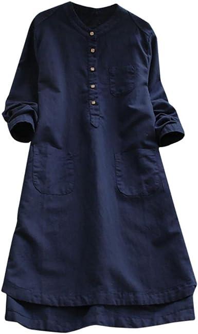 JYC Verano Falda Larga, Vestido De La Camiseta Encaje, Vestido Elegante Casual, Vestido Fiesta Mujer Largo Boda, Retro Largo Manga Suelto Botón Tops Blusa Mini Camisa Vestir (L, Azul): Amazon.es: Ropa y