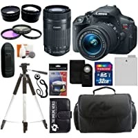 Canon EOS Rebel T5i Digital Camera SLR Kit With Canon EF-S 18-55mm IS II STM Lens + Canon EF-S 55-250mm f/4.0-5.6 IS STM Autofocus Lens + 32GB Card and Reader + Wide angle and Telephoto Lenses + Tripod + Battery + Filters + Accessory Kit Review Review Image