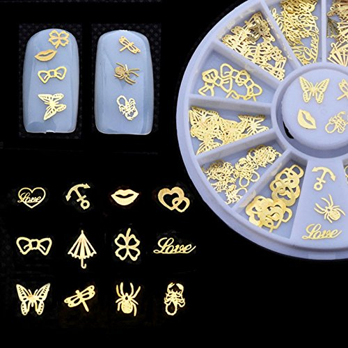 (WISHNAIL 120 Pcs/Box 3D Nail Art Gold Butterfly Heart Anchor Shape Charms Decoration )