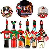Tatuo 6 Sets Christmas Bottle Covers Ugly Sweater Wine Cover Bottle Decor for Christmas Party Table Decorations (Color Set 1)