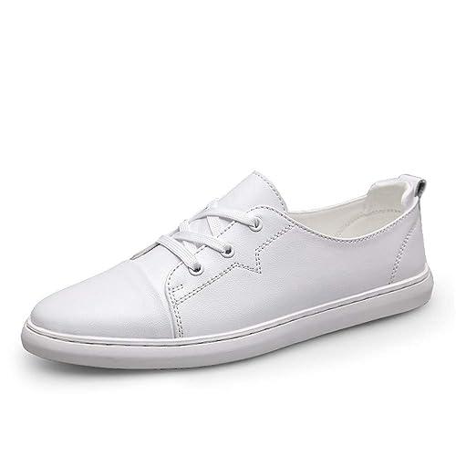 Zapatos para Caminar para Hombre Cuero Casual Zapatillas de Deporte Superiores cómodas Zapatillas de Deporte Pisos Low Top Anti-Slip Lace Up . Zapatos de ...