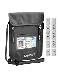 Neck Wallet Travel Pouch RFID Blocking Passport Holder with Neck Strap, Anti-Theft Security Traveling Pouch for Women Men Kids, 10 Credit Card Sleeves Bonus (Grey)