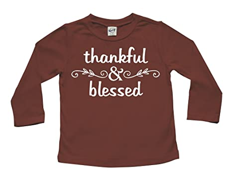 c5e6a6ff1 Thanksgiving 'Thankful & Blessed' Long Sleeve Baby and Child T-shirt (6