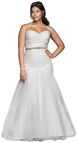 Strapless Mermaid Tulle Plus Size Wedding Dress Style ...