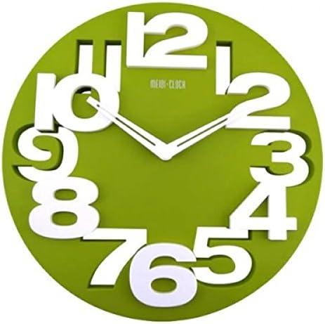 3D Wall Clock Silent Movement Modern Cutout Big Digit Round Dial 12.5 inch – Green