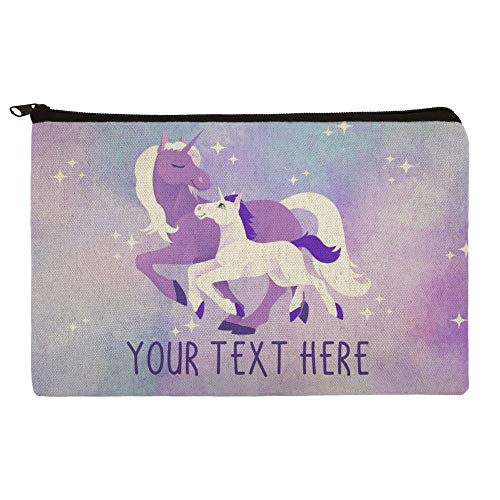 Personalized Custom 1 Line Magical Mom Unicorn and Baby Pencil Pen Organizer Zipper Pouch Case -
