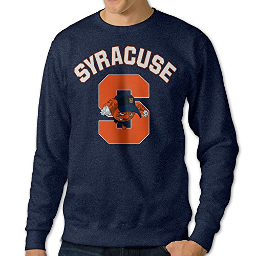 BestGifts Men's Syracuse University Crew Neck Sweatshirts Navy Size L