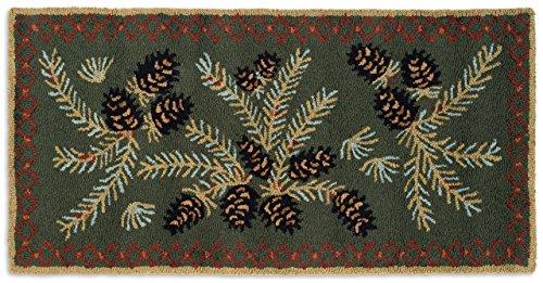 Chandler 4 Corners Beautiful Hand Hooked Wool Rug, Diamond Pinecone Design 2'X4' Rug - 100% Natural Wool