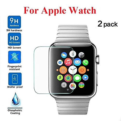 Price comparison product image Apple Watch Screen Protector 38mm / 42mm [2-Pack],  (Series 3 / 2 / 1 Compatible) Tempered Glass Full Coverage Screen Protector for Apple Watch HD Anti-Bubble Film Self-Healing UV-Resistant (42mm)
