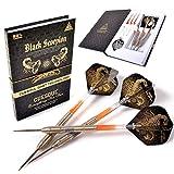 CUESOUL Black Scorpion 24g Tungsten Steel Tip Dart Set,Barrel with Golden Titanium Coated Finished