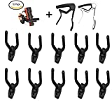 Minireen 10PCS Guitar Wall Hangers Stands Hook Holders With 2 Pack Guitar Capo Quick Change Acoustic Guitar Accessories Trigger Capo for Acoustic Electric Guitars Ukulele Banjo Mandolin Bass