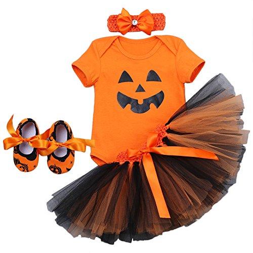 Newborn Baby Girls 1st Halloween Outfit Orange Pumpkin Skull Romper Dress One-Piece Bodysuit + Ruffle Tulle Skirt + Headband + Shoes First Birthday Photo Prop Costume 4Pcs Tutu Set Orange ()