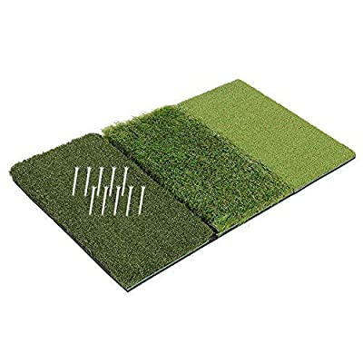 GOLFIT Golf Hitting Mat Practice Turf Backyard or Indoor Chipping Mat | 3-in-1 Foldable Portable Premium Quality Realistic Multi-Length Grass + 10 Extra Tees