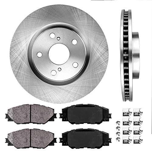 FRONT 296 mm Premium OE 5 Lug [2] Brake Disc Rotors + [4] Ceramic Brake Pads + Clips (Price To Change Brake Pads And Rotors)