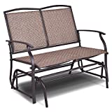 Allblessings 2 Person Patio Glider Rocking Bench Double Chair Loveseat Armchair Backyard Brown