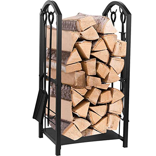 Juvale Firewood Rack with 4 Fireplace Tools - Fireplace Log Holder for Indoor and Outdoor Use, Iron Fire Log Holder Storage Set Includes Brush, Shovel, Poker, and Tongs, 15 x 29 x 13 Inches ()