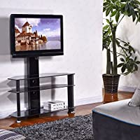 Mecor TV Center Stand Tempered Glass Cantilever with Mount Bracket for 32-55