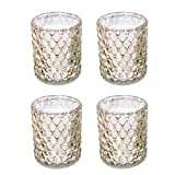 "Hosley's Set of 4-4"" High Gold Glass Tealight Holders. Ideal Gift Wedding, Party, Spa, Reiki etc, Tea Light O5"