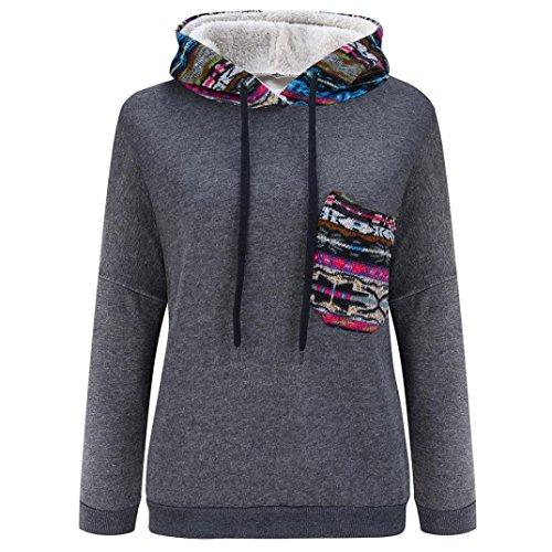 Coversolate Las mujeres de manga larga, además de terciopelo espesado del suéter encapuchado blusa de la tapa Gris oscuro