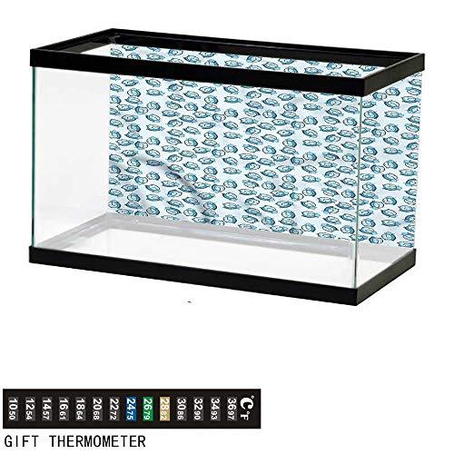 bybyhome Fish Tank Backdrop Clock,Cartoon Style Watches Vintage,Aquarium Background,24