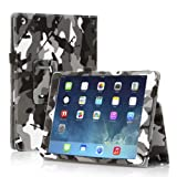 TNP iPad 2/3/4 Case (Camouflage Black) - Slim Fit Synthetic Leather Folio Case Stand with Smart Cover Auto Sleep & Wake Feature and Stylus Holder for Apple iPad 4th Gen, the New iPad 3 and iPad 2