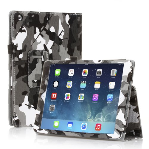 TNP iPad Air 2 Case (Camouflage Black & Gray) – Leather Case Stand with Smart Cover Auto Sleep & Wake Feature and Stylus Holder for Apple iPad Air 2 (iPad 6) 2014 Model & iPad Air (iPad 5) 2013 Model