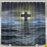 FaceTi Cross Mark Symbol Of Christian Home Polyester Shower Curtain Waterproof Bathroom Decor Sets With Hooks 60x72 Inch