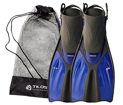 Tilos Getaway Snorkeling Fins Open Heel Fins (Blue, S/M ()