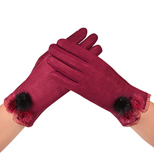 NRUTUP Women Velvet Warm Glove Soft Wrist Thick Mitten Full Finger Glove Hot Sale!(Red,free size)