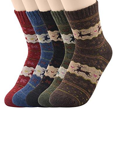 Zando Womens Super Thick Merino Ragg Wool Crew Winter Socks 5-Pack Christmas Deer Multi-colored Size (Adult Cheer Bear Dress)