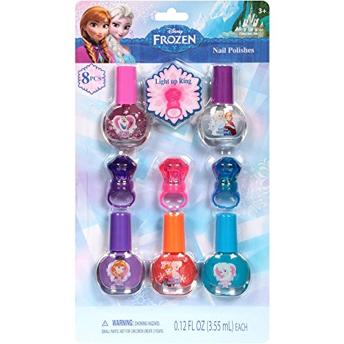 Disney Frozen Nail Polish and Light up Ring Set, 8 Pc, 5 Bottles of Nail Polish and 3 Light up Rings