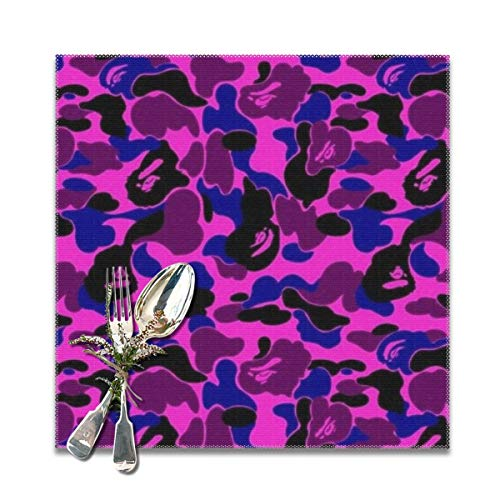shirt home bape camo Wallpaper Graduated Placemats for Dining Table,Washable Placemat Set of 6, 12x12 inches -