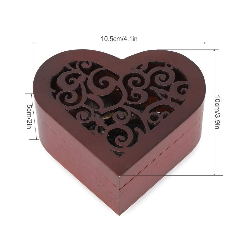 Wooden Craft Musical Box Heart Shaped Music Box Birthday Kids Gift Romantic Happy Birthday Hongzer Wooden Music Box Gift