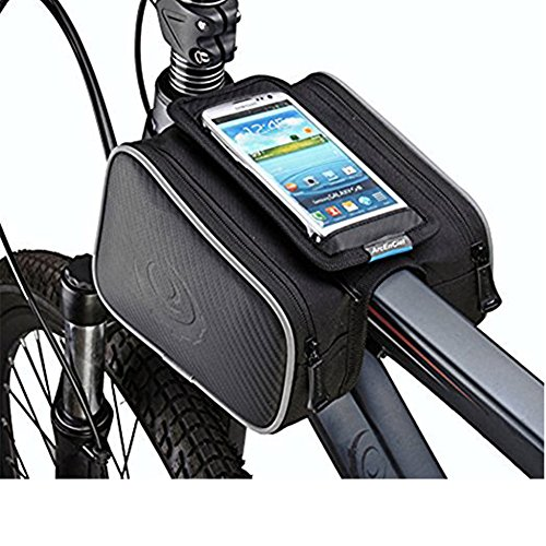 - Bicycle Handlebar Phone Bag - Bilateral Bundle Waterproof Bike Storage Bag Saddle Bag on The Front Beam Mobile Phone Holder ≤ 5.7
