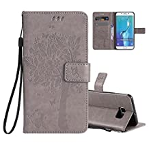 Galaxy S6 Edge Wallet Case Cover Embossed Flower Cat Wishing Tree Design Aeeque Shockproof Folio Flip Phone Cases Slim Fit Bumper Full Protection Cover Case for Samsung Galaxy S6 Edge, Grey