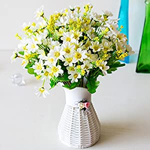 Kuqqi Artificial Fake Flowers, 6pcs Faux Small Daisy Greenery Shrubs Plants Plastic Bushes Indoor Outside Hanging Planter Wedding Cemetery Decor 99