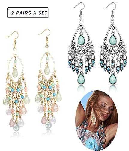 Hanpabum Vintage Bohemian Drop Dangle Earrings Fashion Long Beads Tassel Fish Hook Earring Set For Women Girls