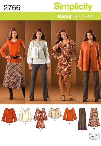 - Simplicity Easy-to-Sew Pattern 2766 Misses Pants, Skirt, Jacket and Knit Dress or Tunic Sizes 10-12-14-16-18