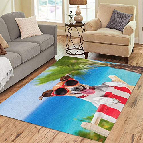 (Semtomn Area Rug 2' X 3' Blue Funny Dog Relaxing on Fancy Deck Chair Colorful Home Decor Collection Floor Rugs Carpet for Living Room Bedroom Dining Room)