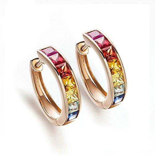 Beydodo Hoop Earrings for Women 18k Real Gold Princess Cut Sapphire Earrings for Valentine Rose Gold by Beydodo