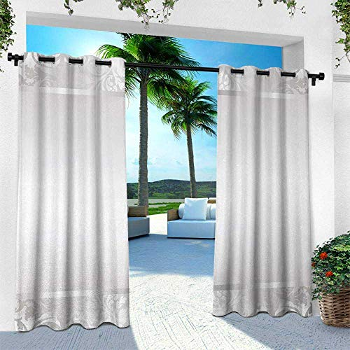 Hengshu Silver, Outdoor Privacy Curtain for Pergola,Rococo Style Framework Ornaments Old Fashioned Antique Design Retro Borders, W96 x L84 Inch, Pale Grey Silver
