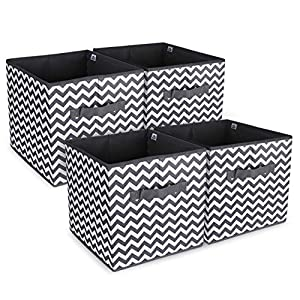 Anstore 4 Pack Foldable Storage Cubes Collapsible Fabric Organiser Container Storage Boxes Basket Bin With Dual Handles…