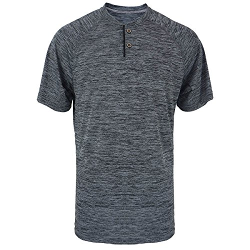 Henley Shirts for Men Short Sleeve Soft Quick Dry Workwear Button Neck Collar Slim Fitted Casual Basic T Top Charcoal ()