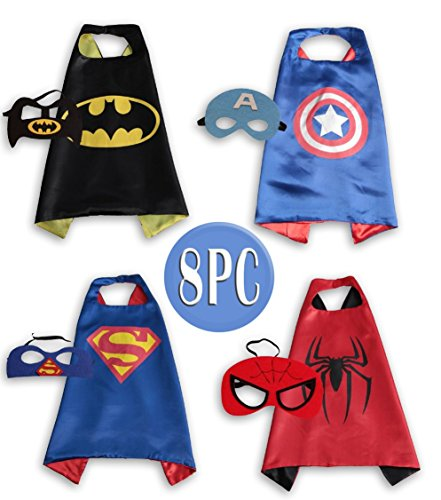 Child Super hero Costume, Cape and Mask Set for Kids, Birthday Party DIY Children (Halloween Paper Plate Spider Crafts)