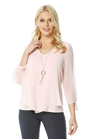 b93b51ba7fdae Roman Originals Women V-Neck Chiffon Top with Necklace - Ladies Overlay Tops  for Going Out Smart Evening Dinner Date Cocktails Elegant Sparkly Necklaces  ...