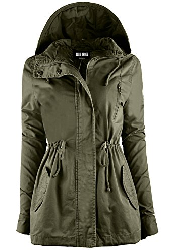 Ollie Arnes Women's Chic Lightweight Warm Anorak Drawstring Parka Jacket 43 OLIVE XL -