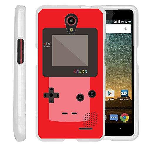 [ZTE Sonata 3 Slim case, ZTE Avid Plus case ][Snap Shell] Hard Plastic Slim White Snap on case with Unique Designs by Miniturtle - Red Gameboy Color