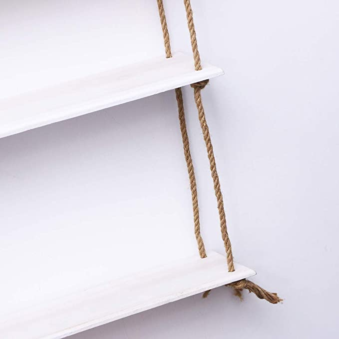 Vosarea Estanter/ía Colgante de Madera r/ústica Decorativa para Colgar en la Pared Blanco