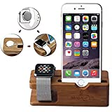 Apple Watch Stand, Gold Cherry bamboo charging dock Station charger holder stand.. Product Photo