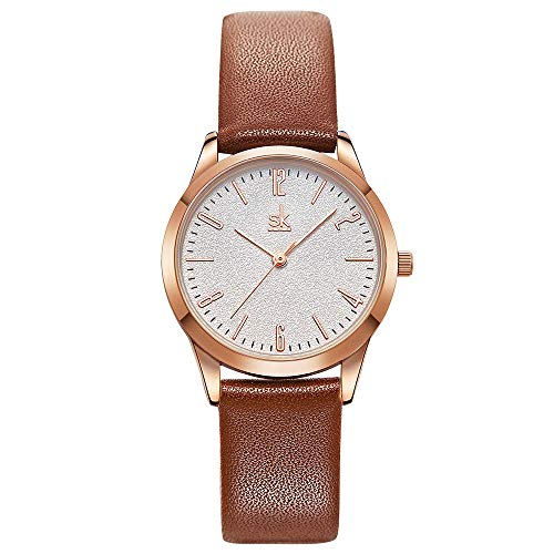 Women Watches Leather Band Luxury Quartz Watches Girls Ladies Wristwatch Relogio Feminino Mother Daughter Gift (9003 Brown) ()